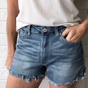 High waist distressed denim jean cutoff shorts